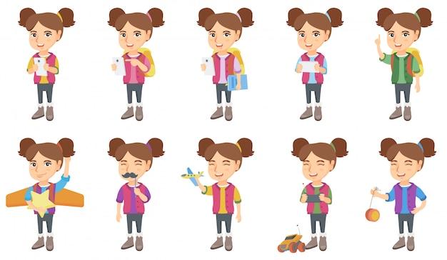 Mały zestaw znaków kaukaski dziewczyna