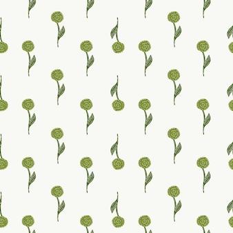 Mały zielony ornament róża na białym tle wzór. ręcznie rysowane kwiatowy charakter kompozycji. białe tło. ilustracji. projekt wektor dla tekstyliów, tkanin, prezentów, tapet.