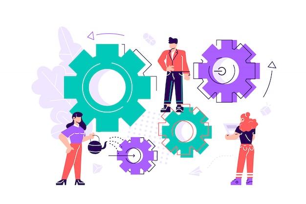 Małych ludzi linki mechanizmu. mechanizm biznesowy abstrakcjonistyczny tło z przekładniami. ludzie są zaangażowani w promocję biznesu, analizę strategii, komunikację. biznesowa ilustracja