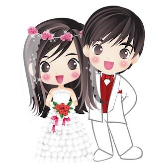 Małżeństwo mąż i żona szczęście para postać z kreskówki rysunek manga anime
