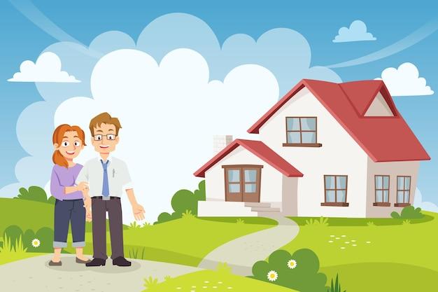 Małżeństwo stoi przed nowym domem