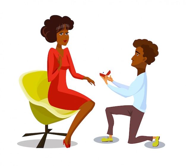 Małżeństwo wniosek na białym tle wektor pocztówka