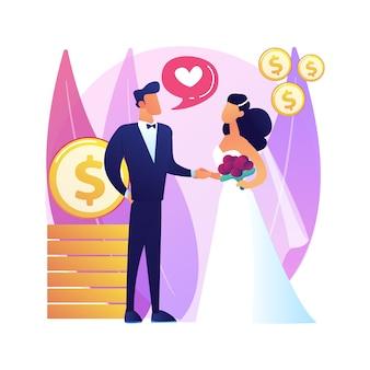Małżeństwo z wygody ilustracja koncepcja abstrakcyjna. małżeństwo polityczne, motywacja finansowa, stary bogaty mąż, obrączki ślubne, banknoty dolarowe
