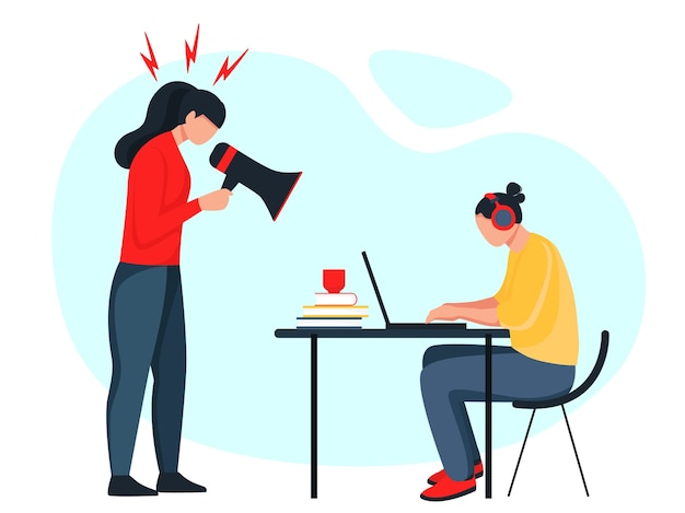 Mama beszta córkę. postać ludzi na na białym tle. zły rodzic. niewłaściwa edukacja, psychologia.