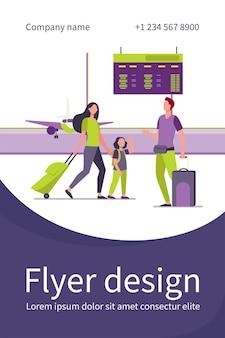 Mama i córeczka spotykają się z tatą na lotnisku. rodzice i dzieci, bagaż, płaski szablon ulotki samolotu