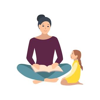 Mama i córka razem siedzi na podłodze i czytając książkę. matka opowiadająca bajkę swojej małej córeczce. urocze postaci z kreskówek na białym tle. płaskie kolorowych ilustracji