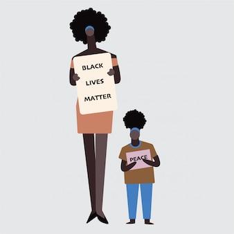 Mama i jej dziecko w protestach black lives matter walczą o prawa człowieka przeciwko rasizmowi, powstrzymują przemoc wobec czarnych.