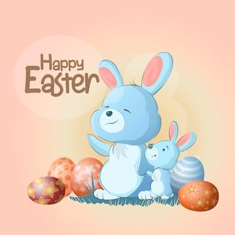 Mama i jej mały królik z pisankami wstają i machają łapami. słodkie króliczki wesołych świąt, tekst. może być stosowany do projektowania grafiki, zaproszenia na uroczystości z okazji narodzin dziecka i zaproszenia