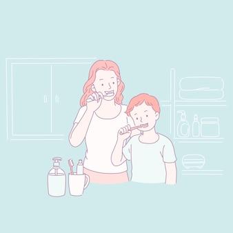 Mama i jej syn szczotkują zęby w stylu linii