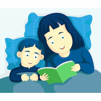 Mama i syn przygotowują się do łóżka w nocy. w łóżku poczytaj książkę. bajka, magiczna historia o ciekawych snach. szczęśliwi i uśmiechnięci razem. ilustracja szczęśliwy dzień matki