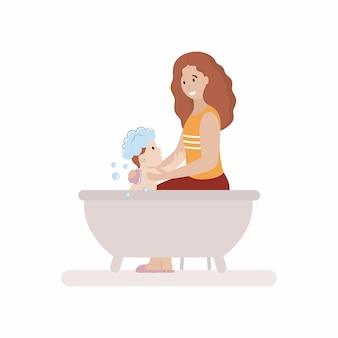 Mama kąpie dziecko w łazience. macierzyństwo i opieka nad dzieckiem. wektor znaków w stylu płaski.