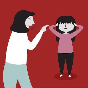 Mama krzyczy córkę maltretowanie dzieci