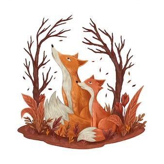 Mama lis i mały lis spojrzeli w niebo