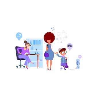 Mama matka pisze dzieci do szkoły, dyrektorka przyjmuje chłopców, płaska.