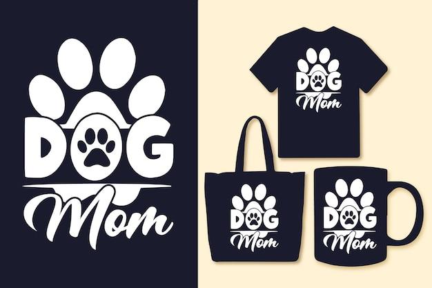 Mama psa typografia projekt koszulki i towarów