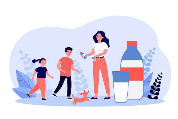 Mama rozdająca butelki mleka aktywnym dzieciom