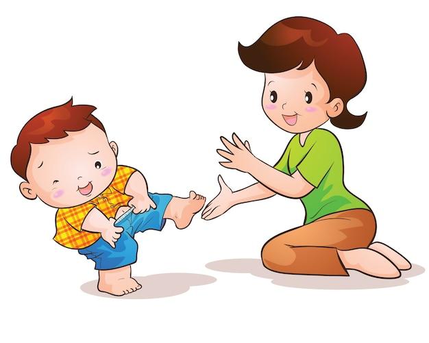 Mama uczy syna noszenia ślicznych spodni