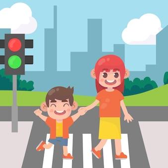 Mama z dziećmi przechodząc przez ulicę premium wektorów