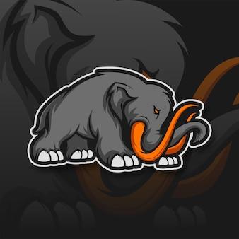 Mammoth elephant logo gaming mascot sport szablon