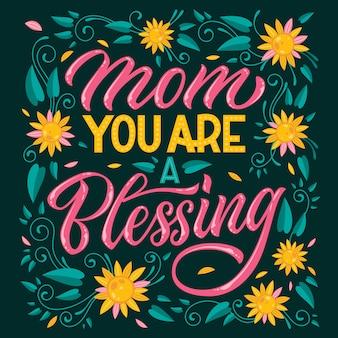 Mamo, jesteś błogosławiony - ręcznie rysowane napis o tematyce matki. serce, kolorowy kwiatowy wzór.