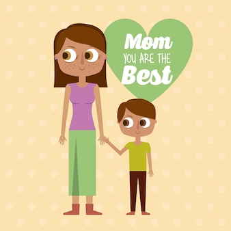 Mamo, Jesteś Najlepszą Kartką Z życzeniami Premium Wektorów
