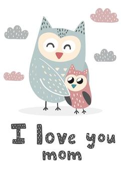 Mamuśka z nadrukiem w urocze sowy. słodka kartka na dzień matki. ilustracja