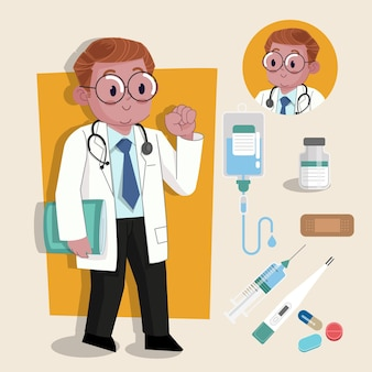 Man doctor urocza postać 2d gotowa do animacji wraz z narzędziami do pracy