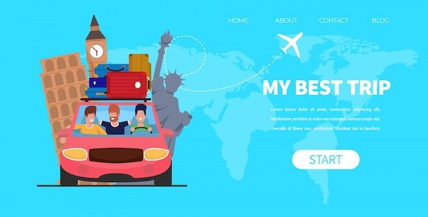 Man drive car bagage na dachu podróży przyjaciół