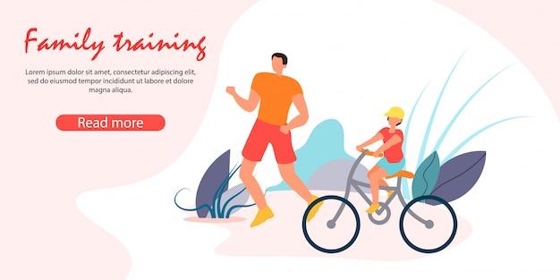 Man jogging, little boy riding bike. szczęśliwa rodzina