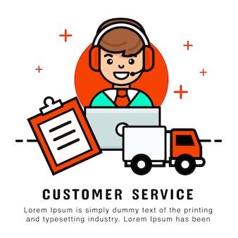 Man operator zakupy online z zamówieniem i usługą dostawy. nowoczesny szablon transparentu