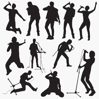 Man pop singer silhouettes