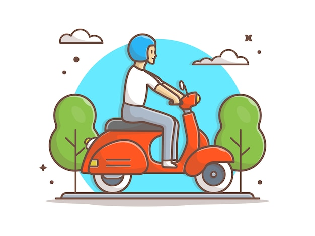 Man riding vespa scooter