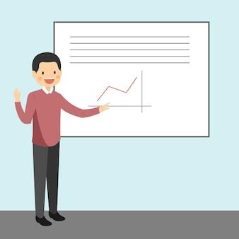 Man teacher wyjaśniając lekcję w szkole i wykres danych graficznych