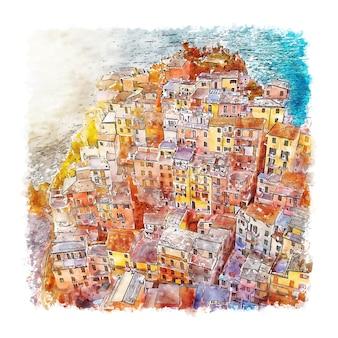 Manarola włochy szkic akwarela ręcznie rysowane ilustracji