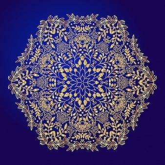 Mandala, amulet. ezoteryka złoty symbol na niebieskim tle.