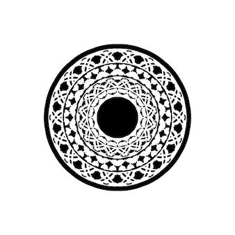 Mandala, bardzo szczegółowa ilustracja inspirowana zentangle, czarno-biała