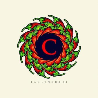 Mandala chilli papper logo jedzenie eleganckie ilustracje