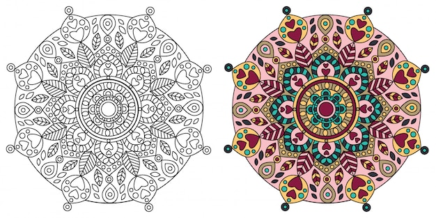 Mandala design coloring page dla dorosłych