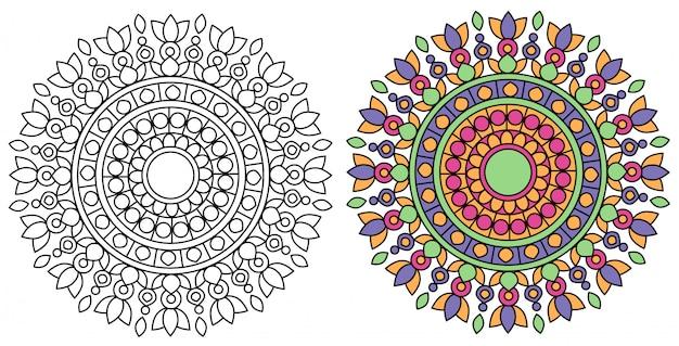 Mandala design kolorowanie relaksujący z białym tłem