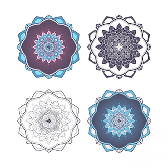Mandala design niebieski i fioletowy kolor