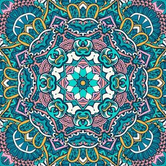 Mandala doodle linie zdobione tło. abstrakcyjny geometryczny wektor kafelkowy boho etniczny wzór bezszwowe ozdobne tekstylia