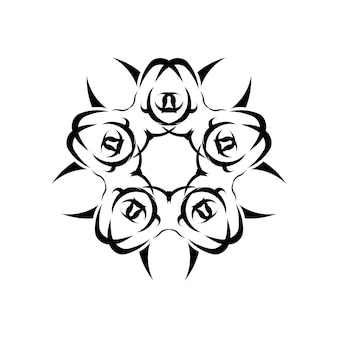 Mandala kwiatowa. zabytkowe elementy dekoracyjne. orientalny wzór, ilustracji wektorowych. motywy islamu, arabskie, indyjskie, marokańskie, chińskie, mistyczne, osmańskie. kolorowanka do książki