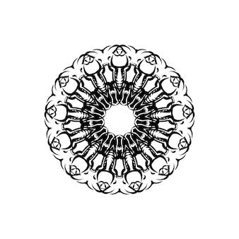 Mandala kwiatowa. zabytkowe elementy dekoracyjne. orientalny wzór, ilustracji wektorowych. motywy islamu, arabskie, indyjskie, marokańskie, hiszpańskie, tureckie, pakistańskie, chińskie, mistyczne, osmańskie. kolorowanka do książki