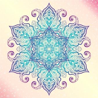 Mandala. kwiatowy vintage okrągły amulet tatoo