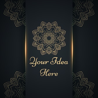 Mandala, mehendi - złoty etniczny szablon.