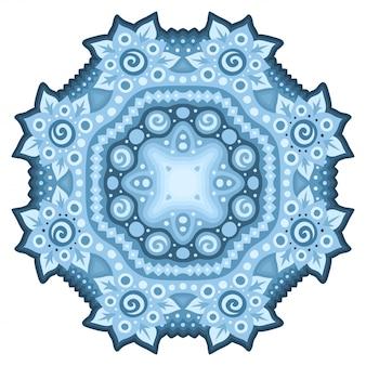 Mandala na białym tle niebieski kwiatowy wzór