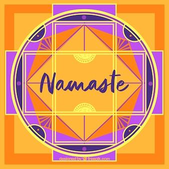 Mandala namaste tło w płaskim stylu