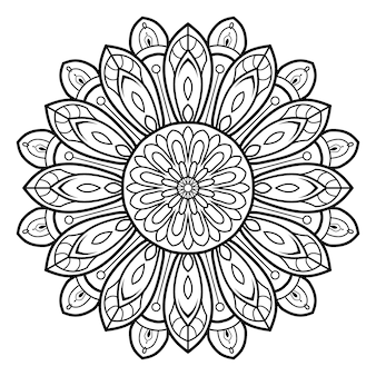 Mandala ozdobnych kwiatowy kontur czarno-biały