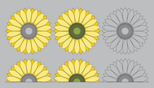 Mandala słonecznikowa. kontur ilustracji wektorowych.