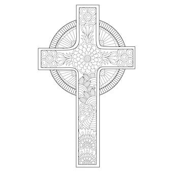 Mandala style kwiatowy krzyż